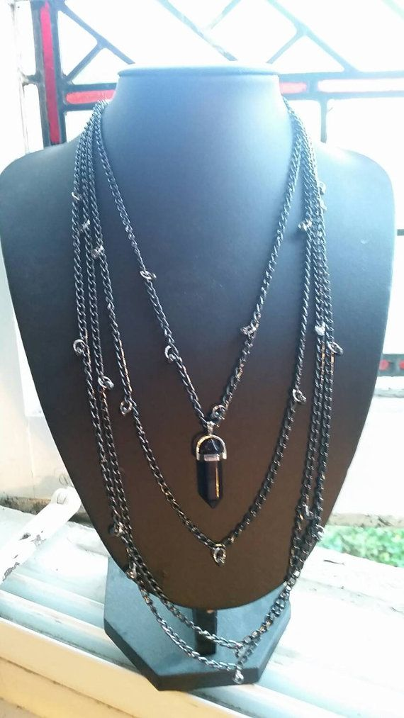 Check out this item in my Etsy shop https://www.etsy.com/uk/listing/257160632/onyx-stone-chained-layered-necklace