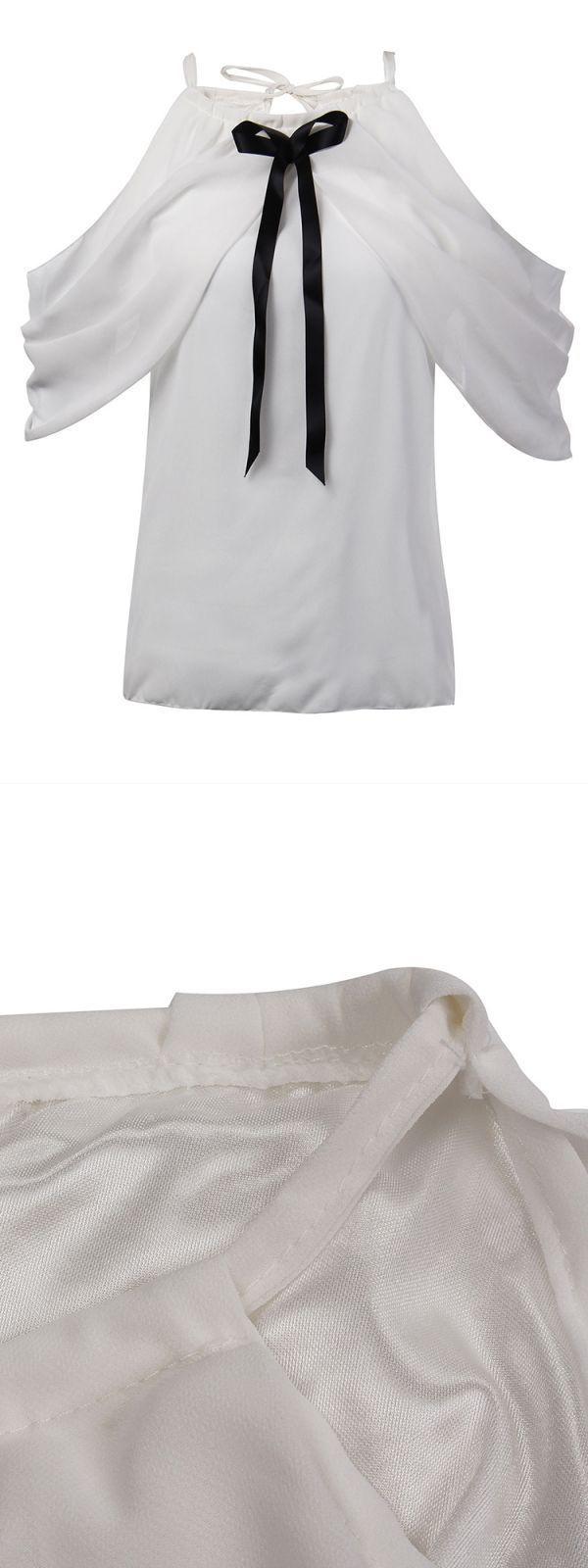 Elegant sexy women white halter off shoulder bow pleated chiffon blouse asda george women#8217;s blouses #girl #blouse #car #little #girl #blouses #saree #blouse #girl #image #womens #button #down #blouses