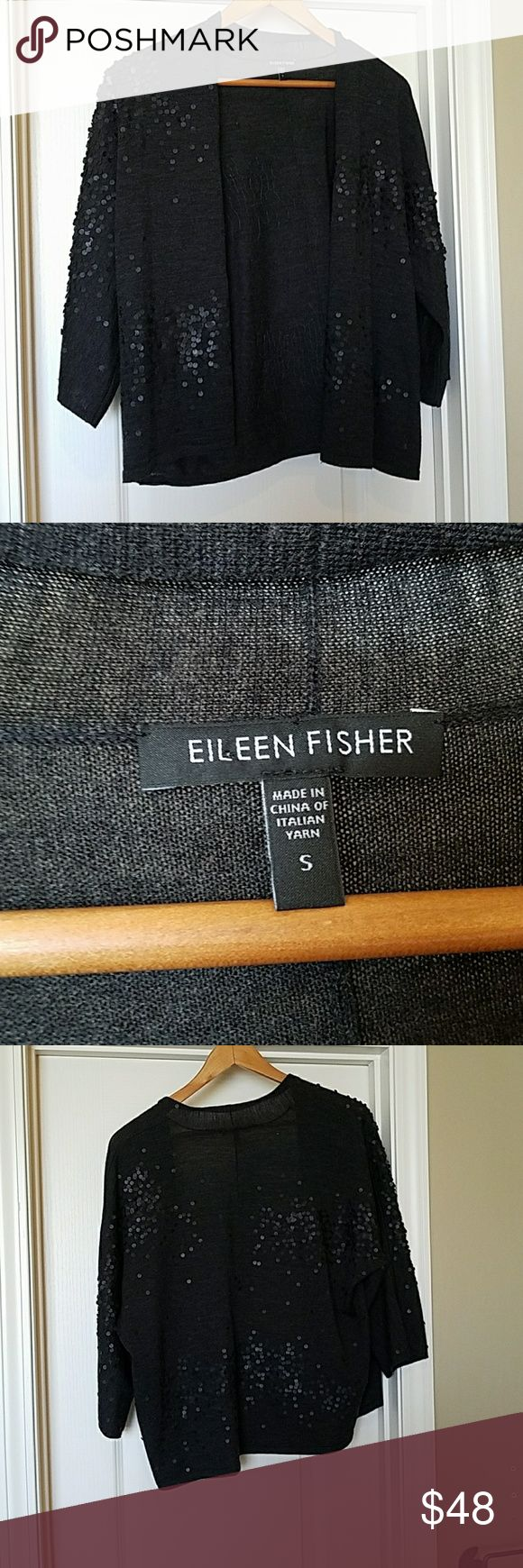 Eileen Fisher Merino Wool Sequin Open Cardigan Excellent used condition. Non smoking environment. Eileen Fisher Sweaters Cardigans
