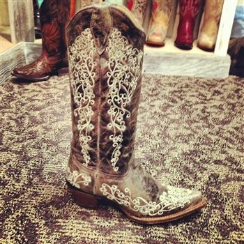 """Somebody buy me these!!!Leather And Lace AKA """"The Wedding Boot"""" Corral Boots $209.99 #SouthernFriedChics Found on sale for $189"""