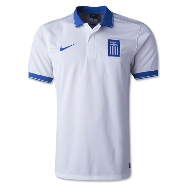 "According to a Nike release: In 2014, Greece will play in a stylish and contemporary new kit embedded with the best in performance innovation. ""In addition to providing leading performance benefits, our aim is to celebrate each country, and we sought to give Greece an attractive and modern new kit that showcases their deep patriotism and the colors of their national flag,"" said Martin Lotti, Global Design Director, Nike Football."