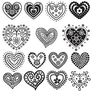 Hearts printablesIdeas, Digistamps, Heart Heart, Heart Doodles, Heart Printables, Heart Design, Zentangle, Digi Stamps, Crafts