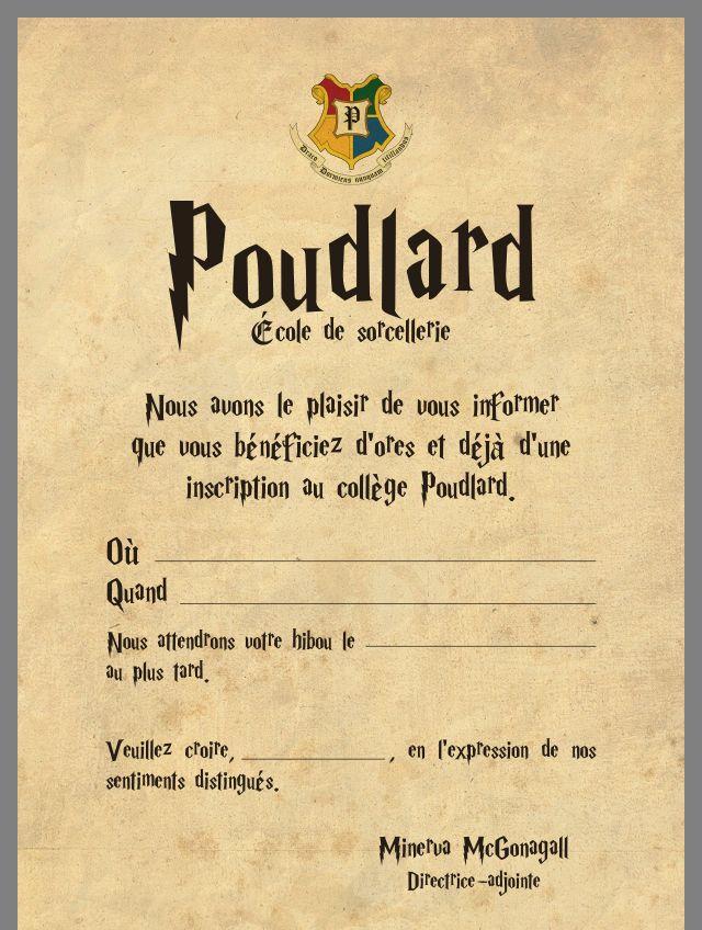 lettre pour poudlard