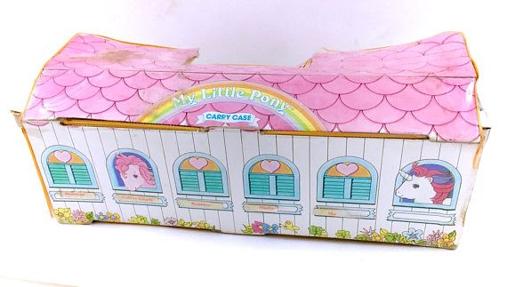 G1 My Little Pony Carrying Case Carry Bag Stable Horse Storage! www.CuteVintageToys.com 💖 Hundreds Of  Precious Vintage Toys From The 80s & 90s! Follow Me & Use The Coupon Code PINTEREST For 10% Off Your ENTIRE Order! 💌 Dozens of G1 My Little Ponies, Polly Pockets, Popples, Strawberry Shortcake, Care Bears, Rainbow Brite, Moondreamers, Keypers, Disney, Fisher Price, MOTU, She-Ra Cabbage Patch Kids, Dolls, Blues Clus, Barney, Teletubbies, ET, Barbie, Sanrio, Muppets, Sesame Street, & Fairy…