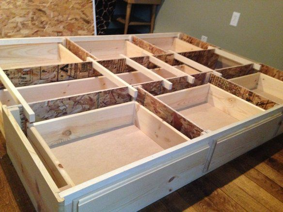 Best queen storage bedframe, new, pine, 7 Drawer