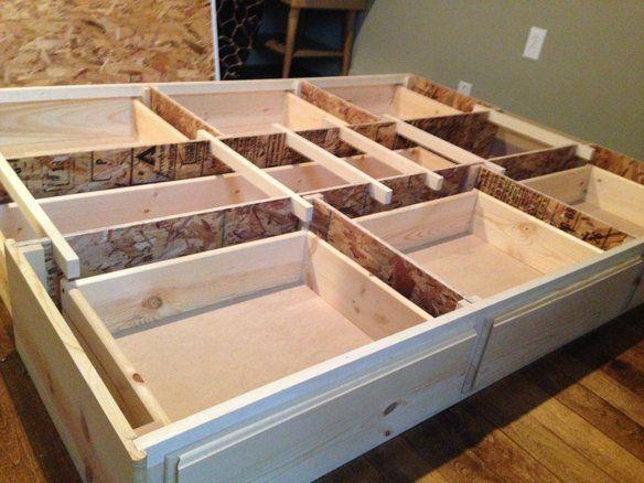 Best Queen Storage Bedframe New Pine 7 Drawer Stains