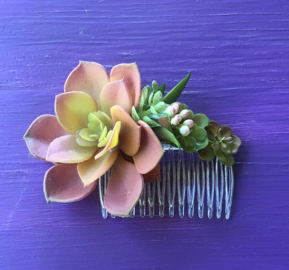 Succulent Hair Comb Floral Hair Comb Pink by FlowerHungry on Etsy