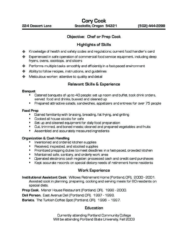 Chef or Prep Cook RESUME Pinterest - prep chef sample resume