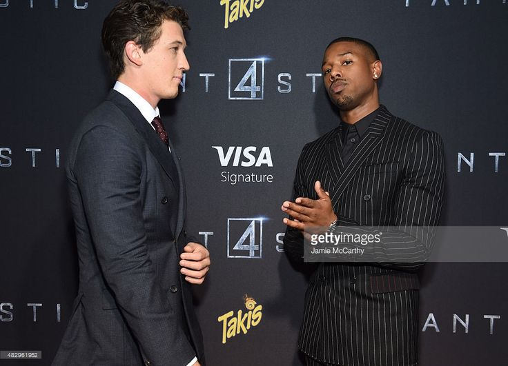 Actors Miles Teller and Michael B. Jordan attend the New York premiere of 'Fantastic Four' at Williamsburg Cinemas on August 4, 2015 in New York City.
