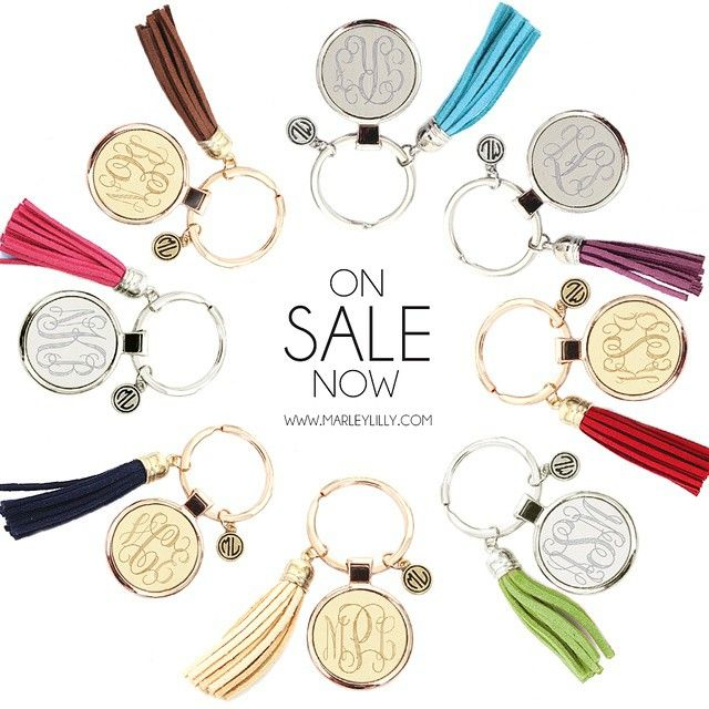 Monogrammed Tassel Keychains are the perfect stocking stuffer! Shop www.MARLEYLILLY.com!