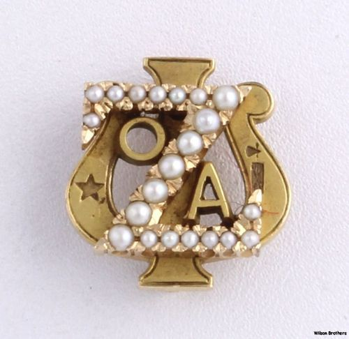 1939 Zeta Psi Genuine Pearls Vintage Badge - 14k Yellow Gold Fraternity Pin 4.4g $239.99