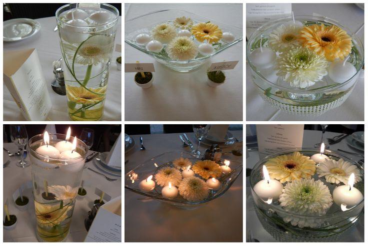 Sárga és fehér gyertyafényes esküvő | gerbera asztaldísz, esküvőre