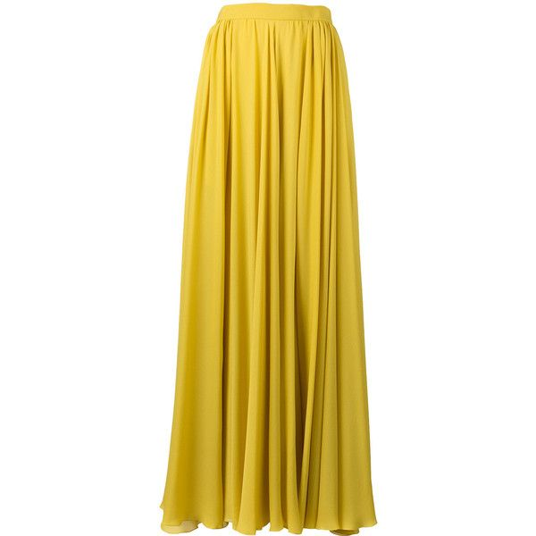 Elie Saab pleated slit maxi skirt ($1,468) ❤ liked on Polyvore featuring skirts, long silk skirt, yellow skirt, floor length skirt, ankle length skirts and pleated slit maxi skirt