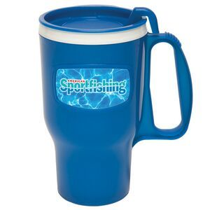 16 Oz. Traveler Mug Large 16 ounce capacity mug designed for the long haul. Double wall insulated, this mug includes a spill resistant slender lid and fits in most auto cup holders. The traveler mug has a lustrous, high gloss finish. Top rack dishwasher safe.