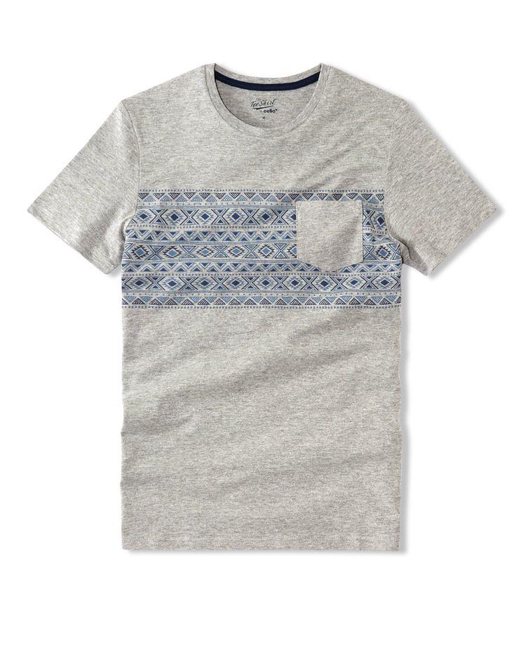 T-shirt imprimé placé coupe droite coton - CENEUF - Celio France
