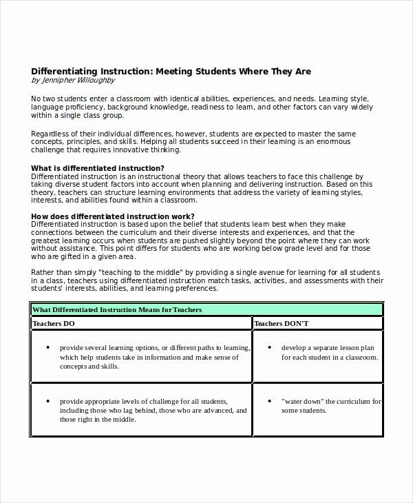 Differentiated Instruction Lesson Plan Template Unique Differentiated Instr Differentiated Instruction Lesson Plans Lesson Plan Templates Differentiated Lesson
