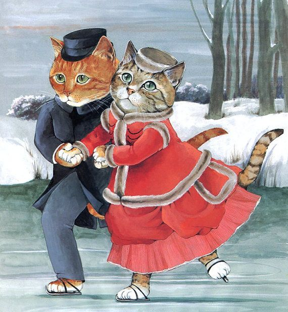 Ice Skating Cat Couple, Victorian Cats, Susan Herbert,  Antique / Vintage Art Prints, Ready to Frame,  Print 28