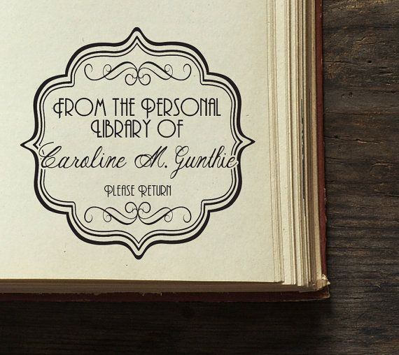 Library Stamp  Personalized Wooden Stamp  Book by BARNSTATIONERY, $26.35 on ETSY