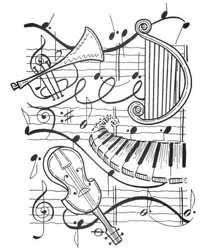 musical instrument coloring sheet