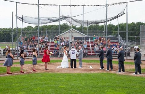 Baseball Themed Wedding / David Tutera for Mon Cheri Bride ~ Elissa on http://itsabrideslife.com