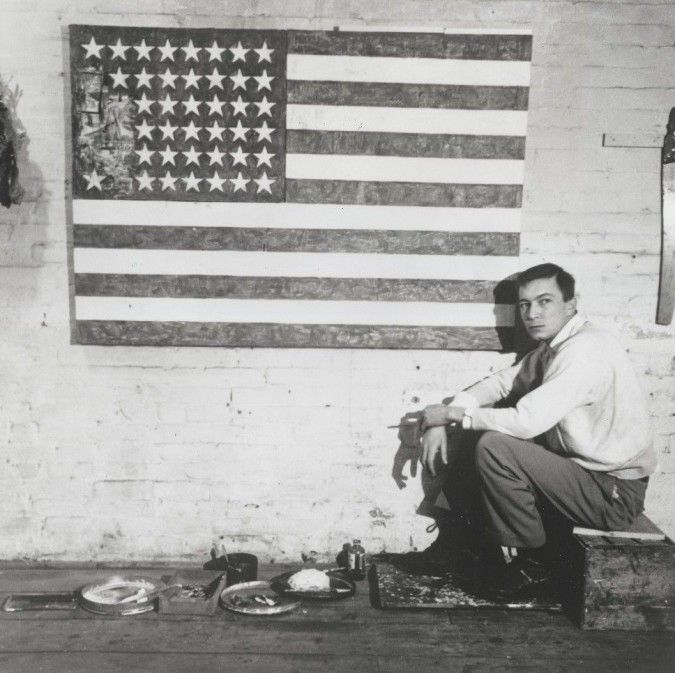 Jasper Johns in his studio on Pearl Street with Flag Robert Rauschenberg, 1954-55, New York