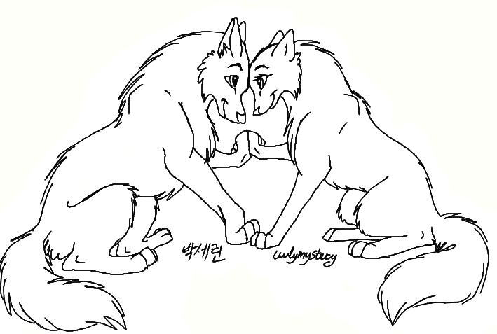 Картинки пара волков для раскрашивания