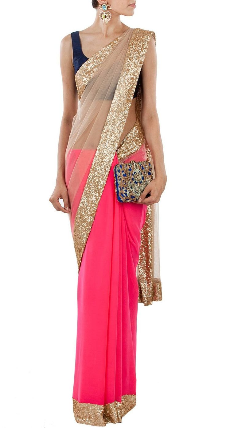 Manish Malhotra neon pink and nude net sari