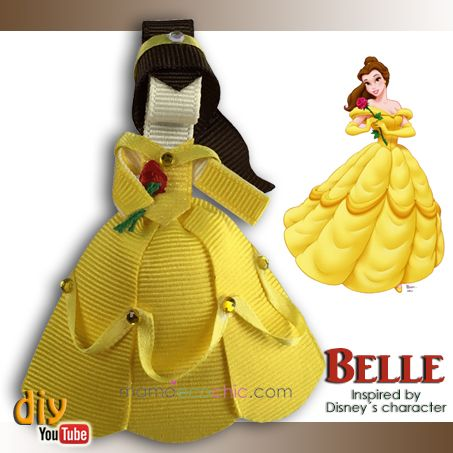 Princess Belle ribbon sculpture. Lazo de la princesa Bella https://youtu.be/x6HMHMCSCf8