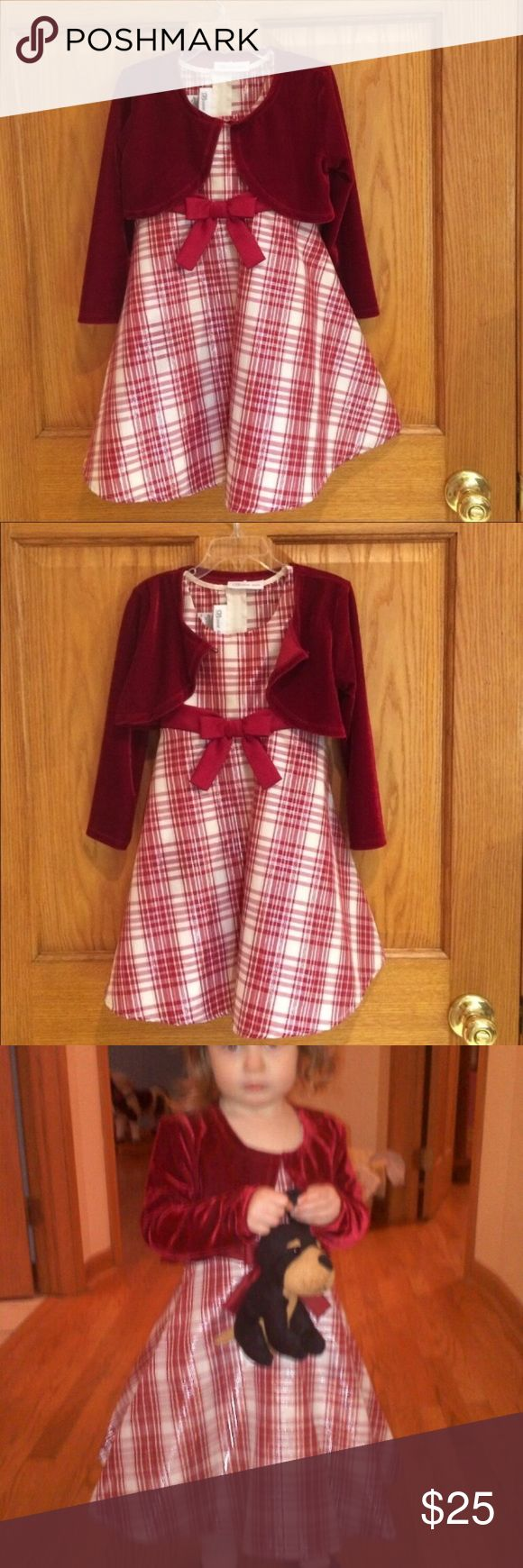 Bonnie Jean Plaid Dress With Velvet Jacket Beautiful cream & red with a silver metallic plaid dress with red velvet jacket. Dress is 94% polyester and 6% metallic. Jacket is 100% polyester. Zips and ties in the back with beautiful red satin. Dress has a liner. Bonnie Jean Dresses Formal