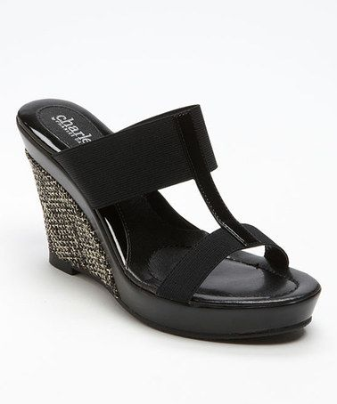 Take a look at this Black Tick Tock T-Strap Slide by Charles by Charles David on #zulily today!