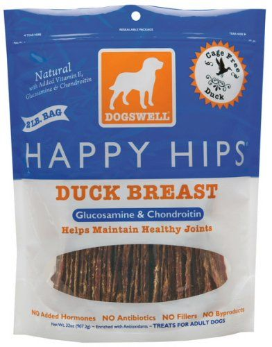 Dogswell Happy Hips Duck Breast Jerky 32 oz. Ingredients: Duck Breast, Vitamin E Supplement, Glucosamine Hydrochloride, Chondroitin Sulfate. Vitamin E Supplement. Duck is high in protein and contains iron, B Vitamins and niacin. Helps Maintain Healthy Hips & Joints with Glucosamine & ChondroitinKey Ingredients: Duck Breast Dogswell's Ducks are raised in open barns where they are free to roam and are fed vegetarian diets of corn and soybean. Chondroitin Sulfate Dogwell's chondroitin...
