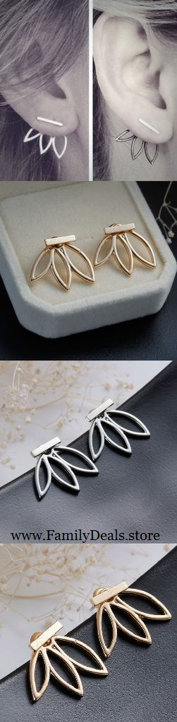 Ditch those boring stud earrings and get ready to flaunt your unique sense of style when you slip on a pair of our modernistic hollow flower leaf earrings! Featuring a single bar stud front and a cool