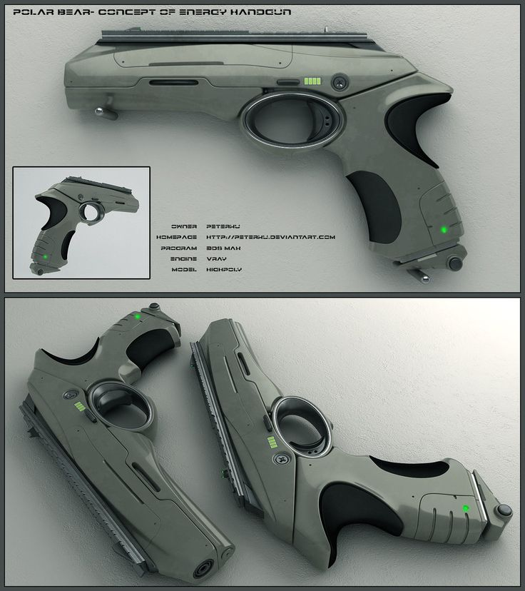 Polar Bear - scifi handgun by peterku energy plasma pistol gun equipment gear magic item | Create your own roleplaying game material w/ RPG Bard: www.rpgbard.com | Writing inspiration for Dungeons and Dragons DND D&D Pathfinder PFRPG Warhammer 40k Star Wars Shadowrun Call of Cthulhu Lord of the Rings LoTR + d20 fantasy science fiction scifi horror design | Not our art: click artwork for source