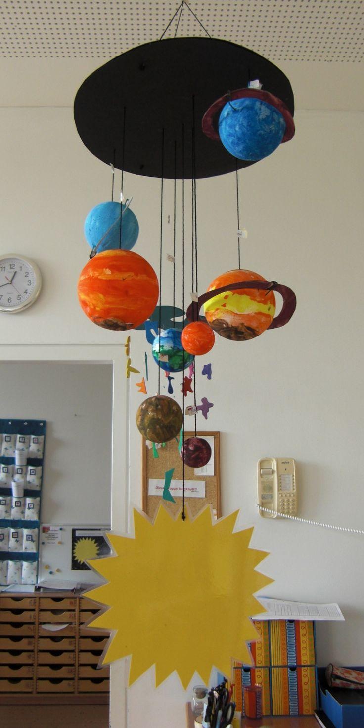 Planeten-Mobile, aus bemalten Styroporkugeln