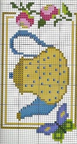 Easy miniature teapot cross stitch chart or cross stitch pattern. Other uses include - crochet, knitting, knotting, loom beading, Perler beading, weaving and tapestry design, pixel art, micro macrame, friendship bracelets, and anything using a charted pattern.