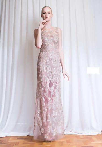 neutral prom dress