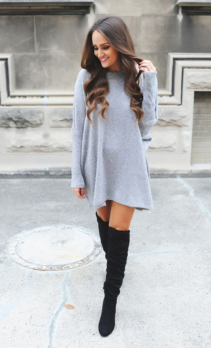 Grey Over-Sized Sweater - Dottie Couture Boutique
