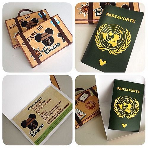 Convites Maleta com passaporte para o Safari do Mickey!!! #convites #mickey #safari #brinquefest #vemprabrinque by BRINQUE FEST, via Flickr