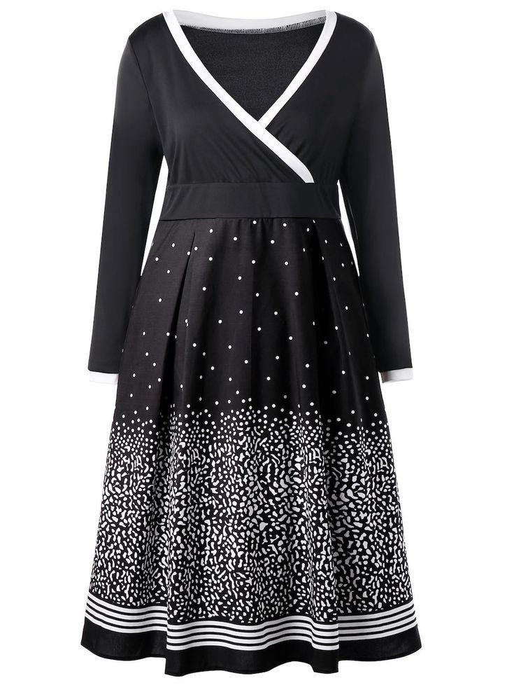 Plus Size Dot Print Long Sleeve Surplice Dress - BLACK 5XL