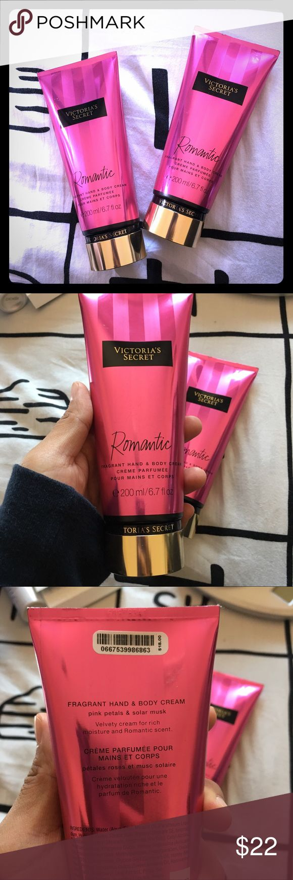 "NWT VICTORIAS SECRET HAND BODY LOTION BUNDLE NWT VICTORIAS SECRET HAND BODY LOTION BUNDLE of 2 pieces. Each of them is new with TAG. 200ml each. ""Romantic"" creme perfume hand and body lotion from VICTORIAS SECRET. Originally $18 each. $36 in value. Get it now for only $22! Victoria's Secret Accessories"