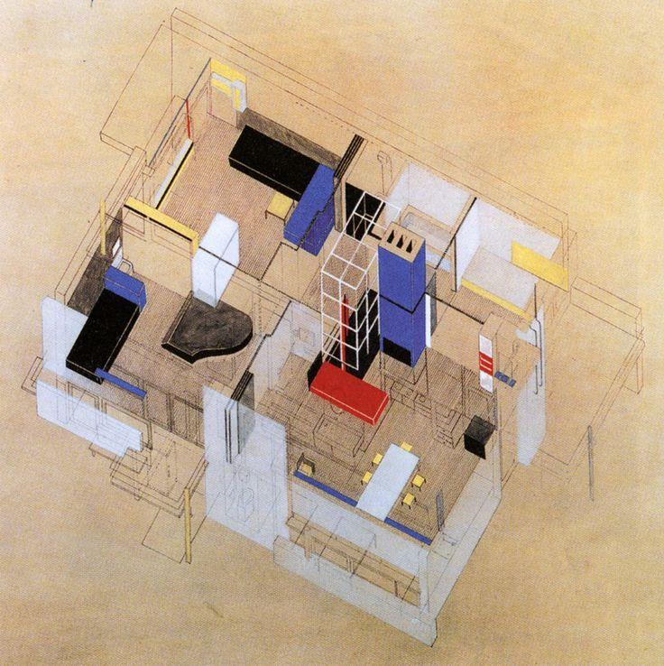 Gerrit Rietveld, Axonometric Projection, Schroder House