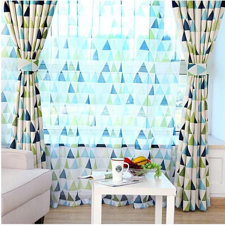 Европейский и американский стиль геометрическая современный затемненные шторы для спальни заказ ткани и вуаль панели cortina DS041 # 5 купить на AliExpress