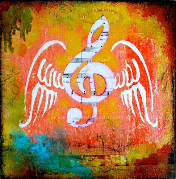 Music Takes Flight  8x8 Mixed Media Art Print by KathleenTennant, $20.00