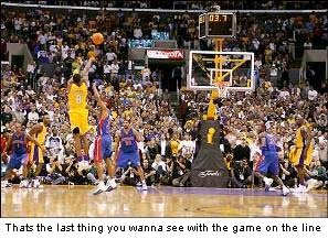 2004 NBA Finals vs Pistons Game 2 tying basket to win in overtime. Lakers lost series 1-4.