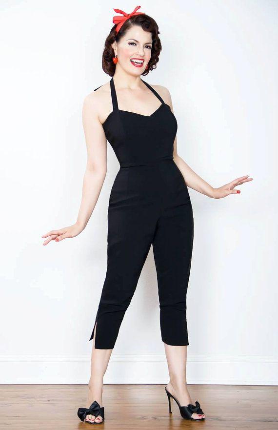 Repro vintage 1950s inspired black stretch jumpsuit Rockabilly pinup Viva Rave Burlesque Bombshell