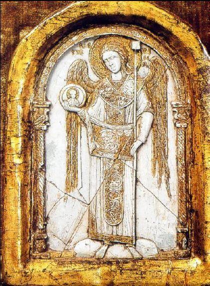 Icône de l'archange Gabriel, fin du XIe ou début du XIIe siècle. Stéatite partiellement dorée. Fiesole, musée Bandini.