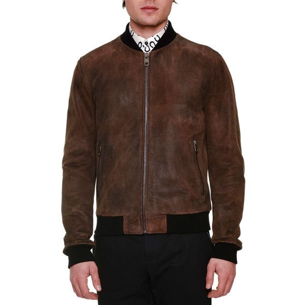 Dolce & Gabbana Treated Leather Zip-Up Bomber Jacket ($2,995) ❤ liked on Polyvore featuring men's fashion, men's clothing, men's outerwear, men's jackets, brown, mens brown jacket, mens zip up jackets, mens leather flight jacket, mens brown leather bomber jacket and mens brown leather jacket