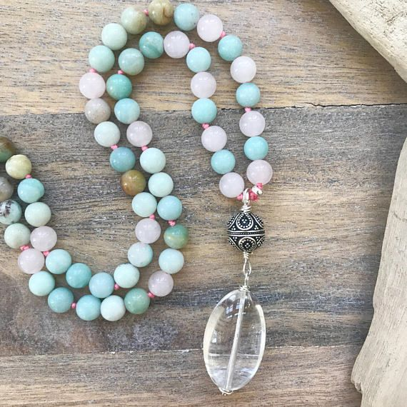 Amazonite and Rose Quartz Mala Beads with sterling silver