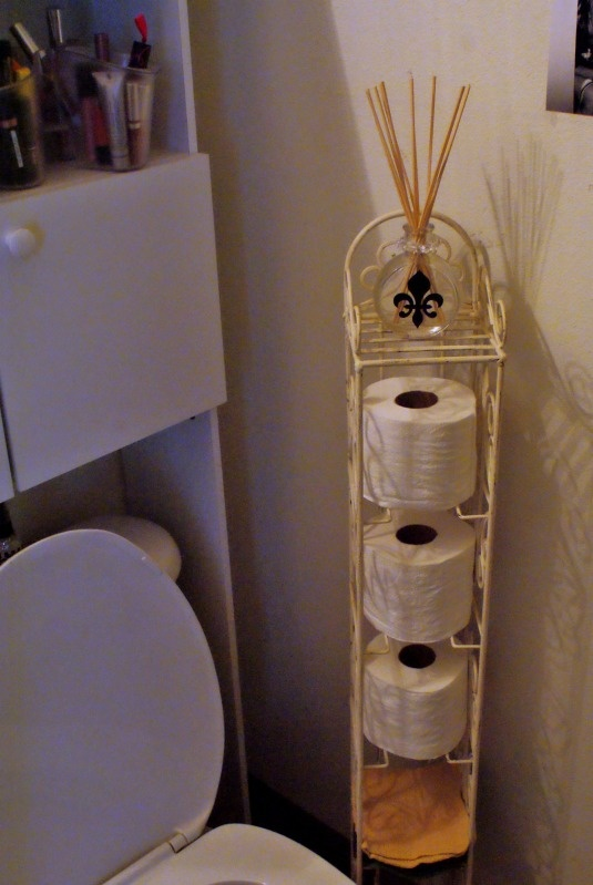 I used an old CD tower in the bathroom to hold rolls of toilet paper!