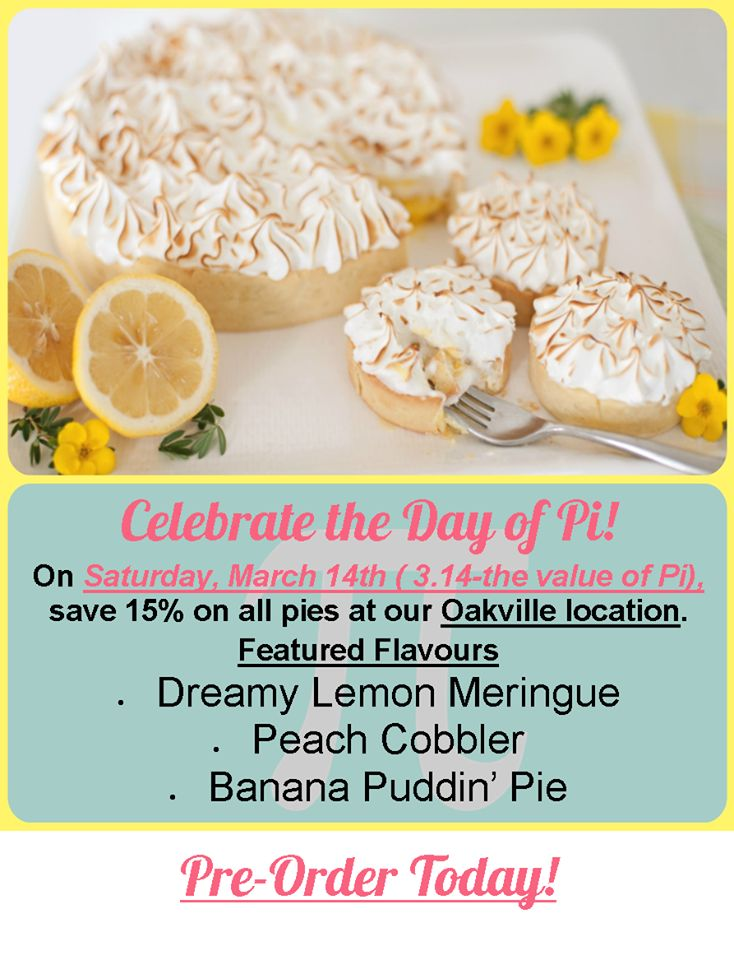 News and Events Celebrate the Day of Pi! #3.14 #Cupids #Oakville #ShopLocal #NutFree
